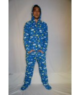 Blue Clouds and Stars Fleece Onesie