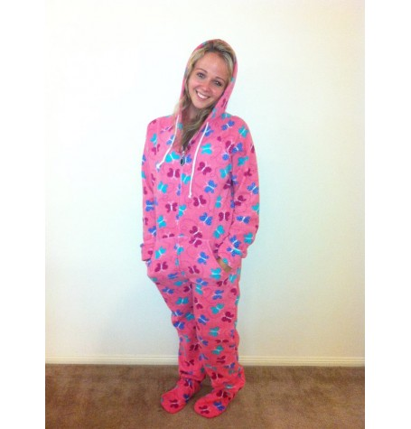 BUTTERFLY ~coral colour  fleece onesie    1 x large adult