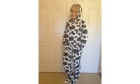 CHENILLE - cow print black and white  3 x large left