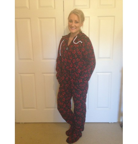 Black background with RED flowers onesie