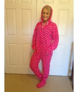 POLKA DOTS ~~Hot pink ~~  white polka  dot