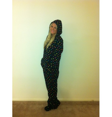 POLKA DOTS  Black ~ multi coloured ~ polka dot  xxs only
