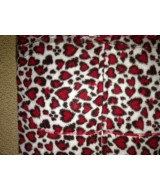 Leopard ~  RED leopard hearts  print - fleece