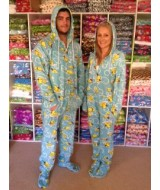 DUCKS ~~ blue base with YELLOW ducks  fleece onesie -