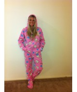 Sheep Pink Clouds onesie fleece    SIZE GOES ON HEIGHT please read description