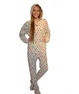 POLKA White Polka Dot ONESIE fleece